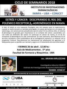 SEMINARIO ININFA-DTO FARMACOLOGÍA 20 de abril 2018 . Dra. Ariana Bruzzone