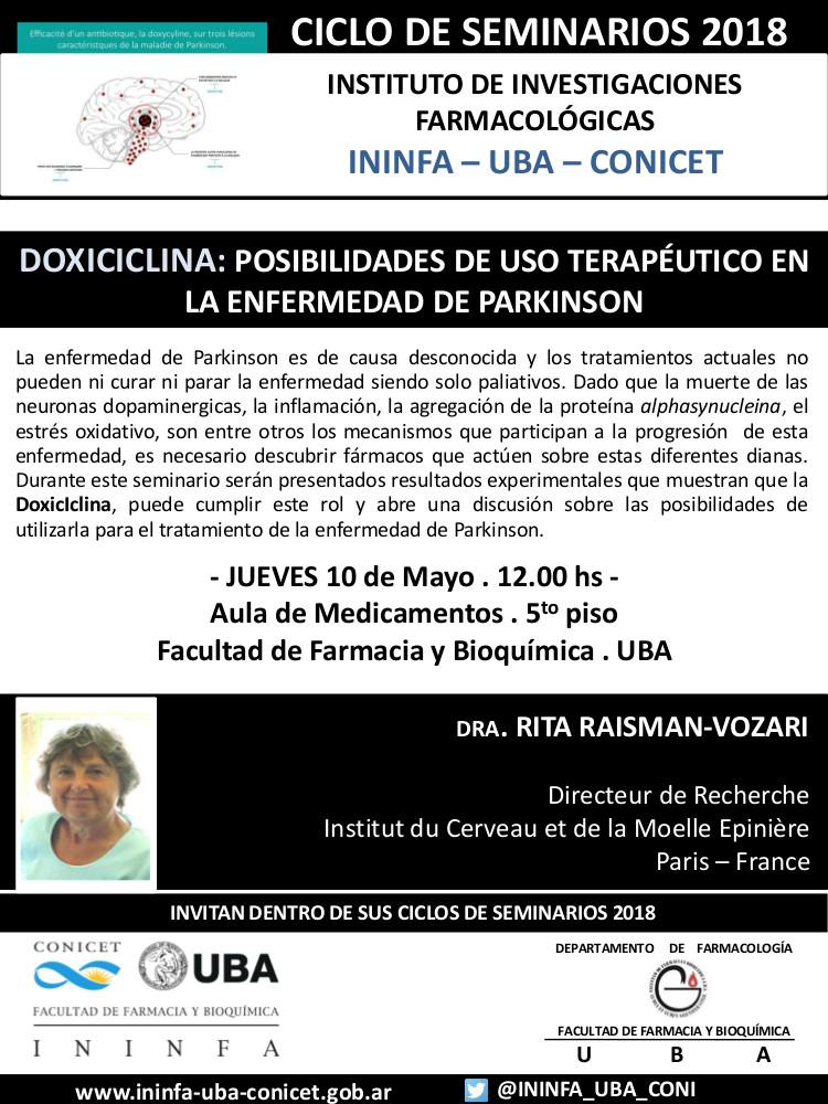 SEMINARIO ININFA-DTO FARMACOLOGÍA 10 de mayo 2018 . Dra. Rita Raisman-Vozari