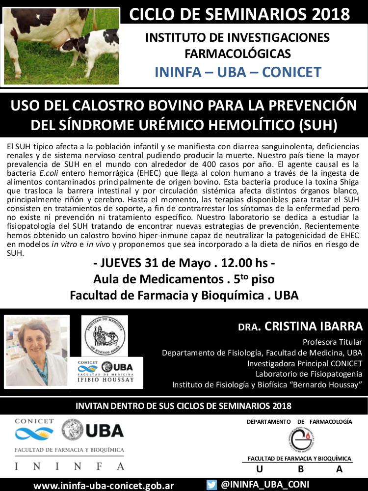 SEMINARIO ININFA-DTO FARMACOLOGÍA 31 de mayo 2018 . Dra. Cristina Ibarra