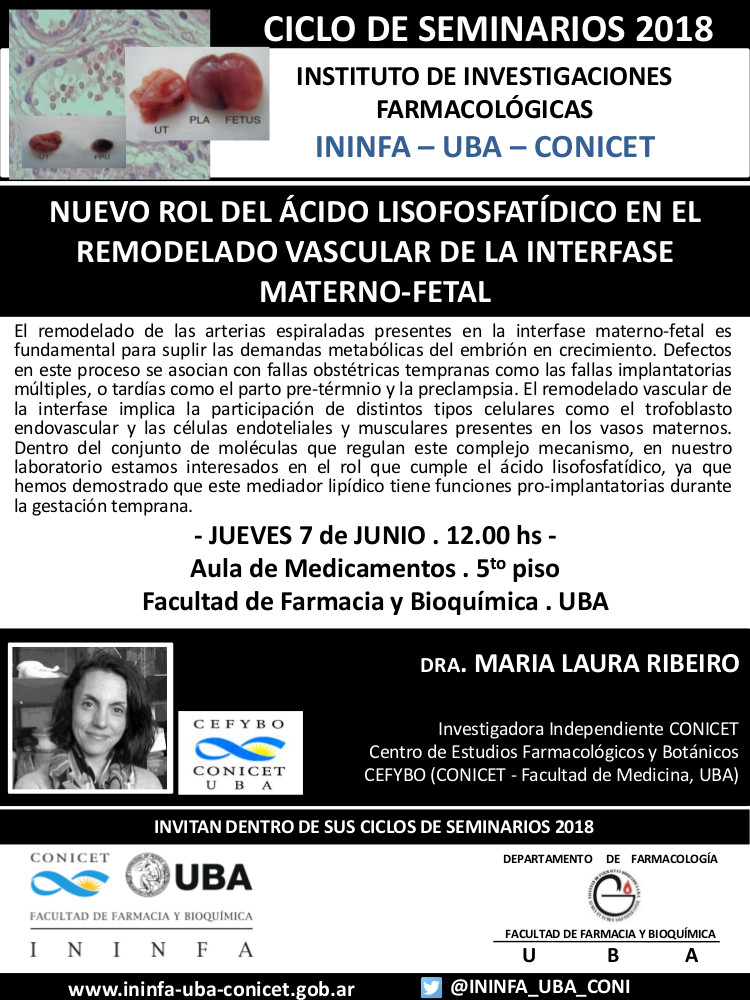 SEMINARIO ININFA-DTO FARMACOLOGÍA 07 de junio 2018 . Dra. Ribeiro