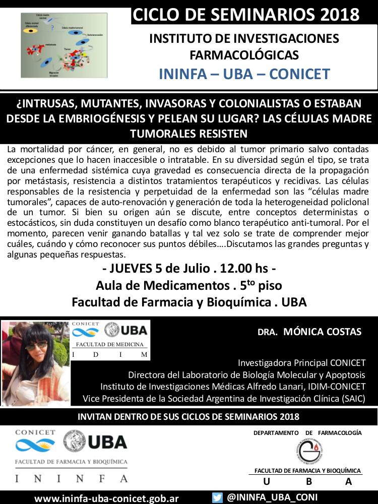 SEMINARIO ININFA-DTO FARMACOLOGÍA 05 de julio 2018 . Dra. Costas