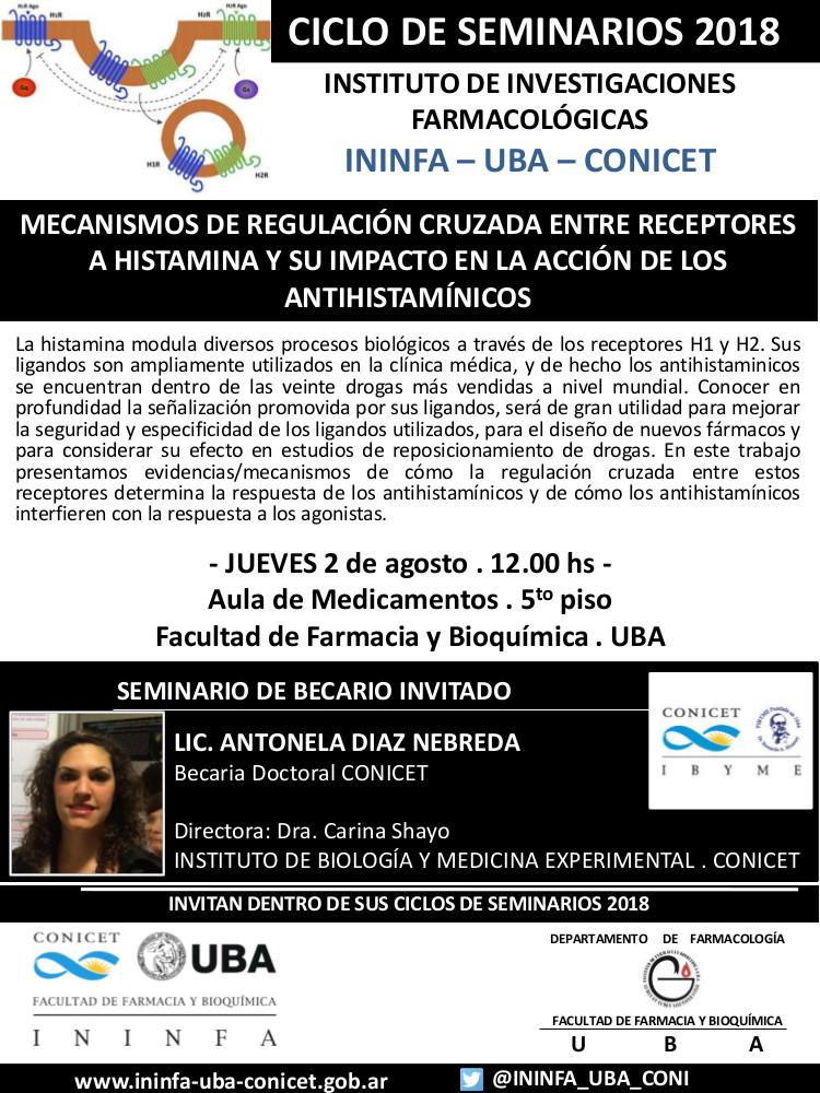 SEMINARIO ININFA-DTO FARMACOLOGÍA 02 de agosto 2018 . Lic. Diaz Nebreda