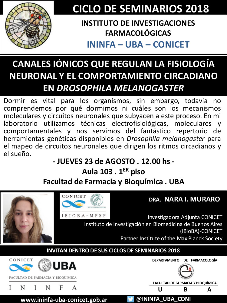 SEMINARIO ININFA-DTO FARMACOLOGÍA 23 de agosto 2018 . Dra. Nara Muraro