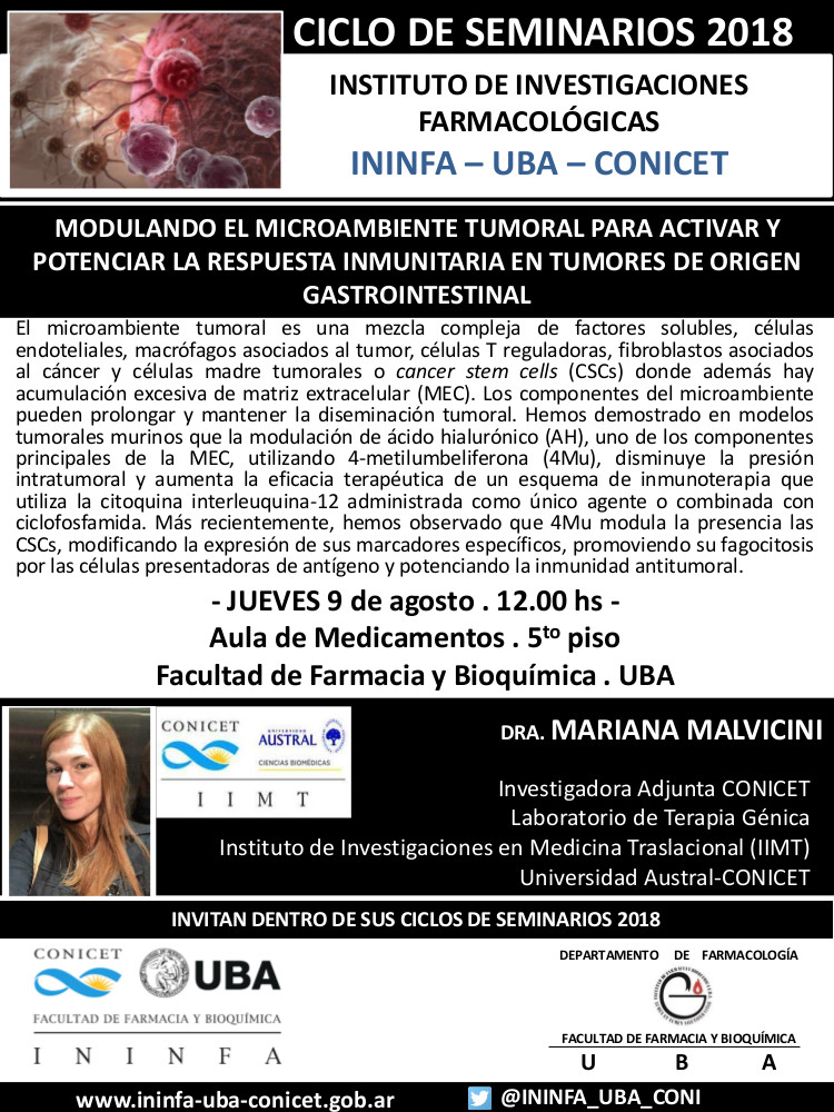 SEMINARIO ININFA-DTO FARMACOLOGÍA 09 de agosto 2018 . Dra. Mariana Malvicini