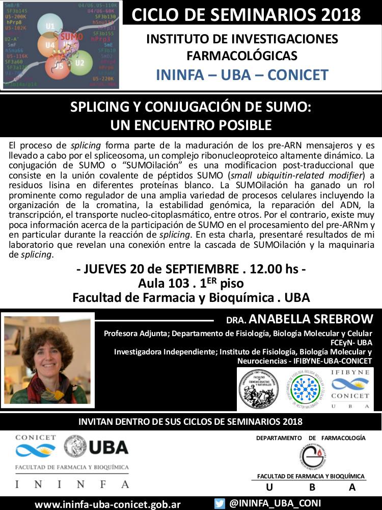 SEMINARIO ININFA-DTO FARMACOLOGÍA 20 de septiembre 2018 . Dra. Anabella Srebrow