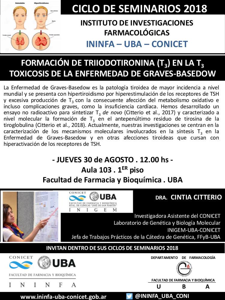 SEMINARIO ININFA-DTO FARMACOLOGÍA 30 de agosto 2018 . Dra. Cintia Citterio