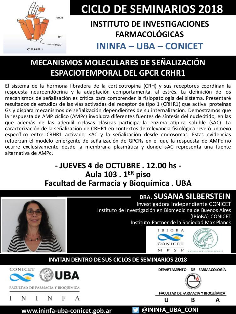 SEMINARIO ININFA-DTO FARMACOLOGÍA 04 de octubre de 2018 . Dra. Susana Silberstein