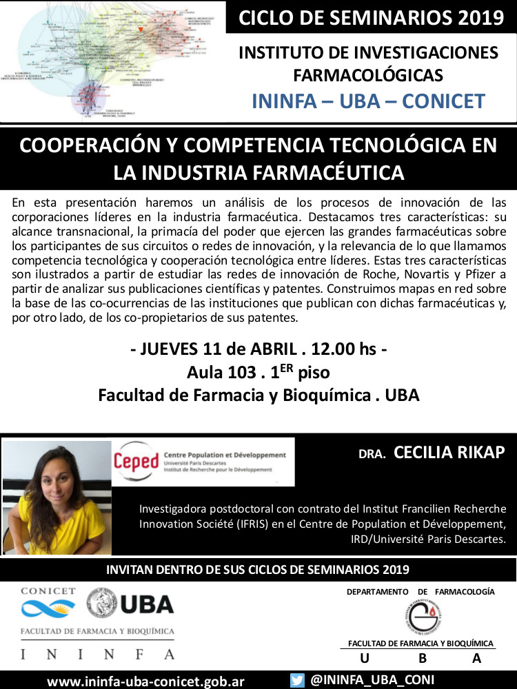 SEMINARIO ININFA-DTO FARMACOLOGÍA 11 de abril de 2019 . Dra. Cecilia Rikap