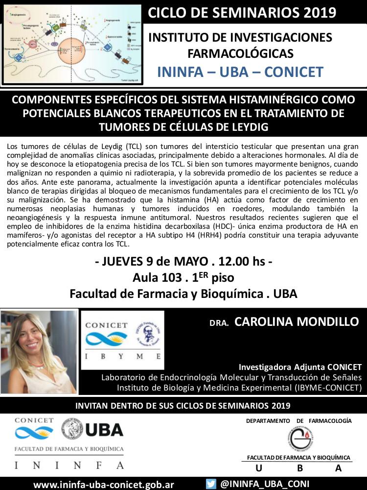SEMINARIO ININFA-DTO FARMACOLOGÍA 9 de mayo de 2019 . Dra. Carolina Mondillo