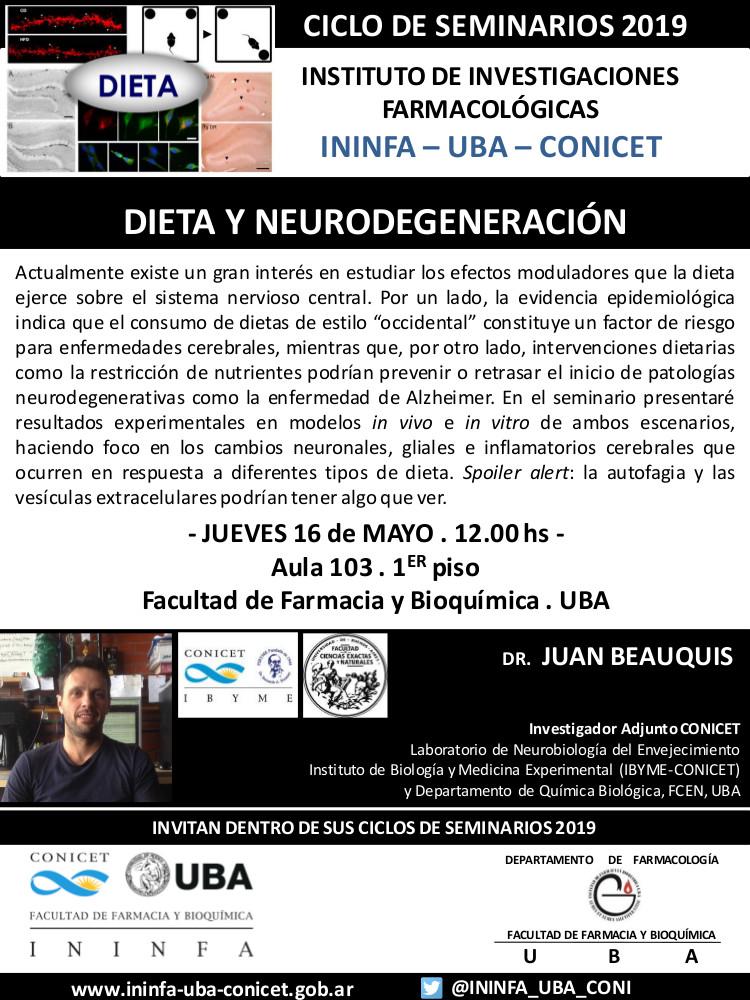 SEMINARIO ININFA-DTO FARMACOLOGÍA 16 de mayo de 2019 . Dr. Juan Beauquis