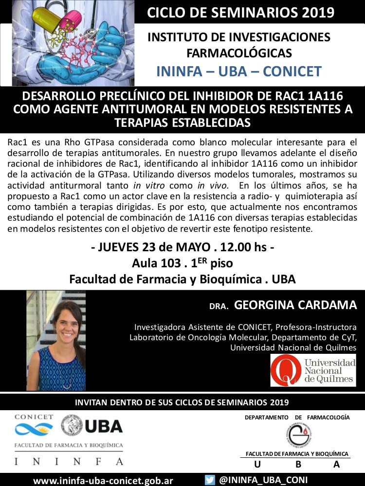 SEMINARIO ININFA-DTO FARMACOLOGÍA 23 de mayo de 2019 . Dra. Georgina Cardama