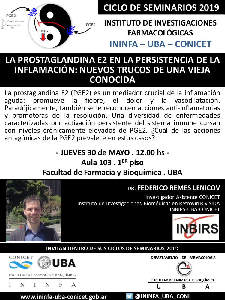SEMINARIO ININFA-DTO FARMACOLOGÍA 30 de mayo de 2019 . Dr. Federico Remes Lenicov