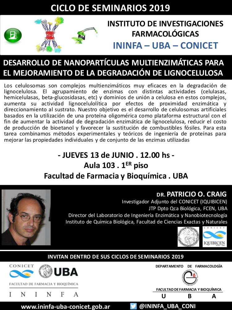 SEMINARIO ININFA-DTO FARMACOLOGÍA 13 de junio de 2019. Dr. Patricio Craig