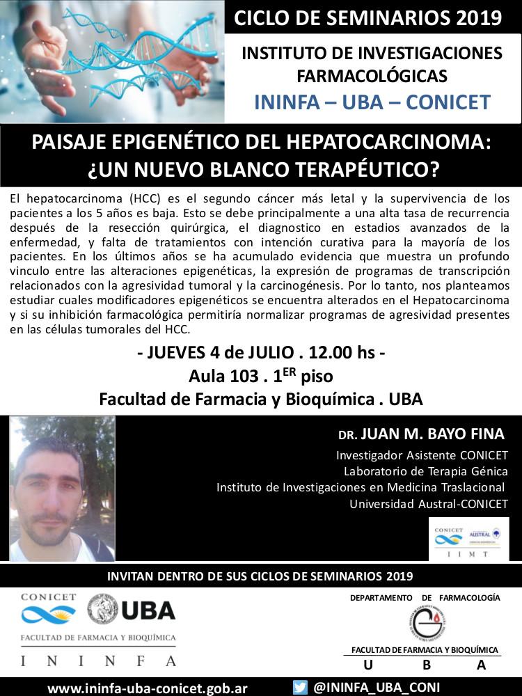 SEMINARIO ININFA-DTO FARMACOLOGÍA 4 de julio de 2019. Dr. Bayo Fina