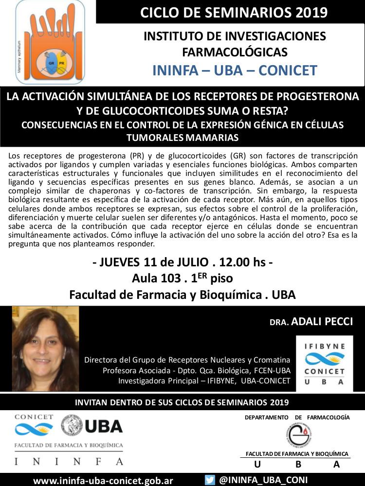 SEMINARIO ININFA-DTO FARMACOLOGÍA 11 de julio de 2019. Dra. Adalí Pecci