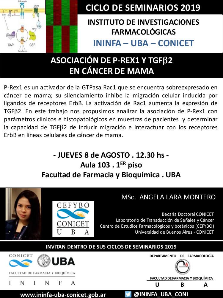 SEMINARIO ININFA-DTO FARMACOLOGÍA 8 de agosto de 2019. Msc. Ángela Lara Montero