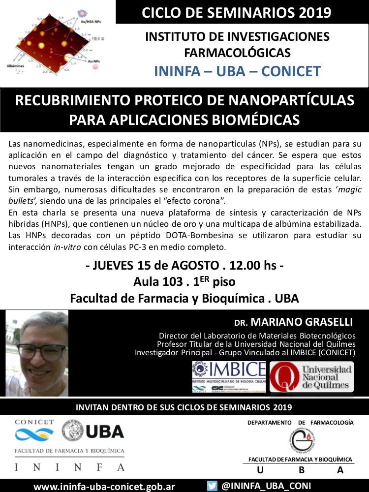 SEMINARIO ININFA-DTO FARMACOLOGÍA 15 de agosto de 2019. Dr. Mariano Grasselli