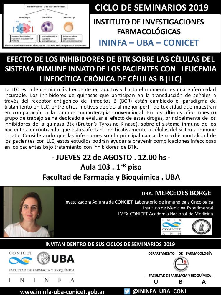 SEMINARIO ININFA-DTO FARMACOLOGÍA 22 de agosto de 2019. Dra. Mercedes Borge
