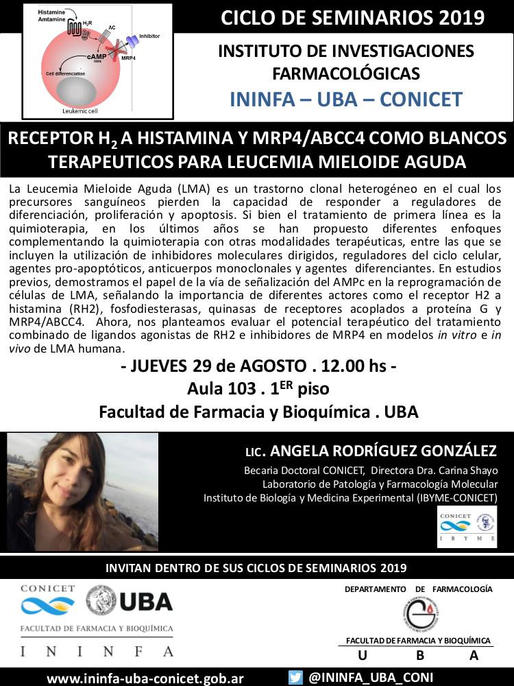SEMINARIO ININFA-DTO FARMACOLOGÍA 29 de agosto de 2019. Lic. Ángela Rodriguez Gonzalez