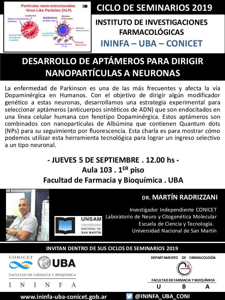 SEMINARIO ININFA-DTO FARMACOLOGÍA 05 de septiembre de 2019. Dr. Martín Radrizzani