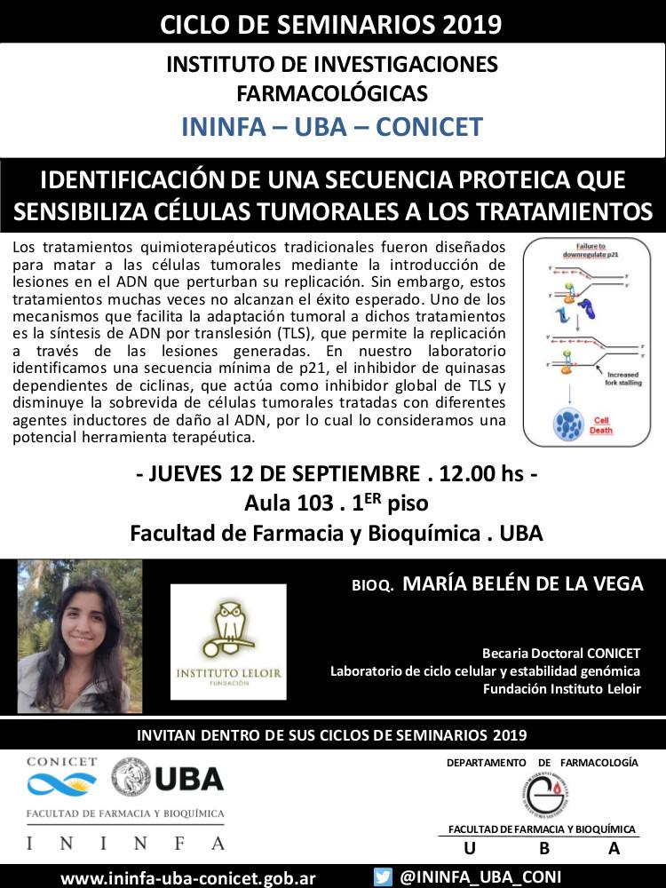 SEMINARIO ININFA-DTO FARMACOLOGÍA 12 de septiembre de 2019. Bq. María Belén de la Vega