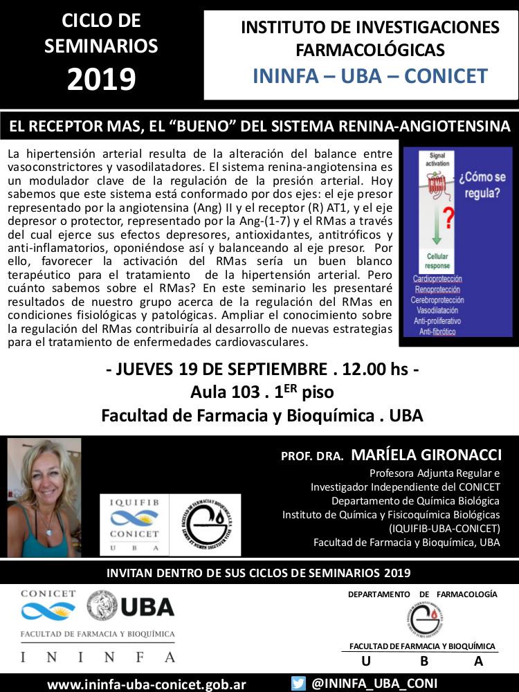 SEMINARIO ININFA-DTO FARMACOLOGÍA 19 de septiembre de 2019. Dra. Mariela Gironacci