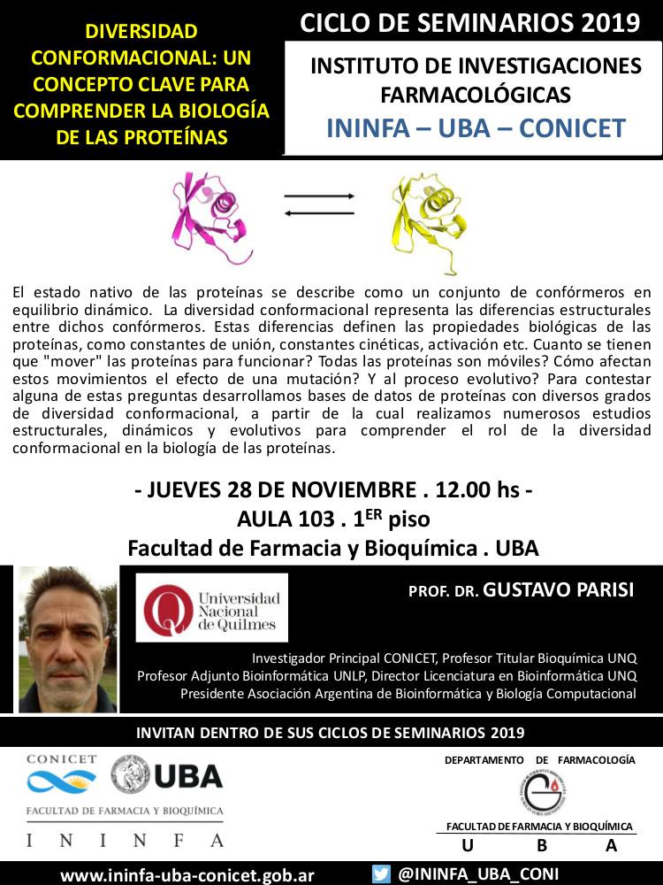 SEMINARIO ININFA-DTO FARMACOLOGÍA 28 de noviembre de 2019. Dr. Gustavo Parisi